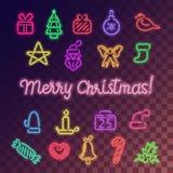 Εικονίδια Χριστουγέννων νέου καθορισμένα Στοκ εικόνα με δικαίωμα ελεύθερης χρήσης
