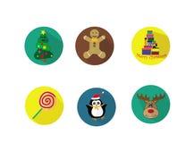 εικονίδια Χριστουγέννων που τίθενται Ζωηρόχρωμος και αστείος διανυσματική απεικόνιση