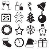 Εικονίδια Χριστουγέννων που τίθενται στο άσπρο υπόβαθρο Νέα έτος και χειμερινά σημάδια και σύμβολα επίσης corel σύρετε το διάνυσμ ελεύθερη απεικόνιση δικαιώματος