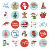 εικονίδια Χριστουγέννων που τίθενται Συρμένο χέρι σύνολο σχεδίου εικονιδίων χειμερινών διακοπών στοιχείων επίσης corel σύρετε το  διανυσματική απεικόνιση