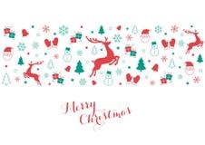 Εικονίδια Χριστουγέννων στο κόκκινο και πράσινος Στοκ εικόνες με δικαίωμα ελεύθερης χρήσης