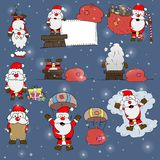 Εικονίδια Χριστουγέννων της διανυσματικής απεικόνισης Άγιου Βασίλη Στοκ εικόνα με δικαίωμα ελεύθερης χρήσης