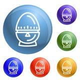 Εικονίδια χρονομέτρων αυγών καθορισμένα διανυσματικά διανυσματική απεικόνιση