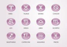 εικονίδια ωροσκοπίων zodiacal Στοκ Εικόνα