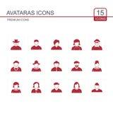Εικονίδια Avataras καθορισμένα κόκκινα Στοκ φωτογραφίες με δικαίωμα ελεύθερης χρήσης