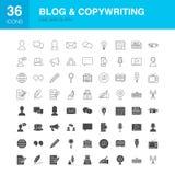 Εικονίδια Glyph Ιστού γραμμών Blog απεικόνιση αποθεμάτων