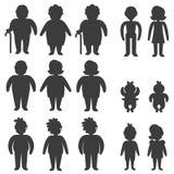 Εικονίδια Glyph των ανθρώπων στις διαφορετικά ηλικίες και το φύλο με υπέρβαρος και ελλειπής ελεύθερη απεικόνιση δικαιώματος