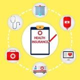 Εικονίδιο έννοιας ασφάλειας υγείας Διανυσματικό ιατρικό πρότυπο εμβλημάτων Ιστού Στοκ φωτογραφίες με δικαίωμα ελεύθερης χρήσης