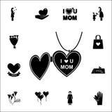 εικονίδιο αγάπης κρεμαστών κοσμημάτων mom Καθολικό εικονιδίων ημέρας μητέρων \ «s που τίθεται για τον Ιστό και κινητό απεικόνιση αποθεμάτων