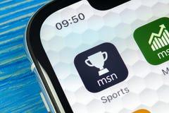 Εικονίδιο αθλητικής εφαρμογής της Microsoft MSN στο iPhone Χ της Apple κινηματογράφηση σε πρώτο πλάνο οθόνης Αθλητικό app της Mic Στοκ Φωτογραφία