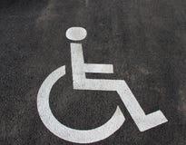 Εικονίδιο αναπηρίας Χώρος στάθμευσης με το σημάδι και το σύμβολο αναπηρίας Κενό διατηρημένο άτομα με ειδικές ανάγκες διάστημα στά Στοκ Εικόνες
