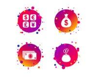 Εικονίδιο ανταλλαγής νομίσματος Τσάντα χρημάτων μετρητών, πορτοφόλι διάνυσμα διανυσματική απεικόνιση