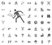 Εικονίδιο αντισφαίρισης Διανυσματικά καθορισμένα εικονίδια αθλητικής απεικόνισης Σύνολο 48 αθλητικών εικονιδίων Στοκ Εικόνα