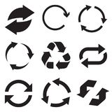 Εικονίδιο βελών κύκλων Αναζωογονήστε και ξαναφορτώστε το εικονίδιο βελών Διανυσματικά βέλη περιστροφής καθορισμένα Διανυσματικό I Στοκ Εικόνες