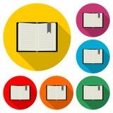 Εικονίδιο βιβλίων ή λογότυπο, χρώμα που τίθεται με τη μακριά σκιά διανυσματική απεικόνιση