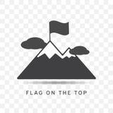 Εικονίδιο βουνών με τη σημαία στο τοπ καθιερώνον τη μόδα επίπεδο ύφος Στοκ Φωτογραφία