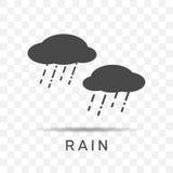 Εικονίδιο βροχής στο καθιερώνον τη μόδα επίπεδο ύφος που απομονώνεται στο διαφανές υπόβαθρο Στοκ φωτογραφίες με δικαίωμα ελεύθερης χρήσης