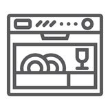 Εικονίδιο γραμμών πλυντηρίων πιάτων, συσκευή και κουζίνα, οικιακό σημάδι, διανυσματική γραφική παράσταση, ένα γραμμικό σχέδιο σε  διανυσματική απεικόνιση