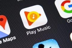 Εικονίδιο εφαρμογής μουσικής παιχνιδιού Google στο iPhone Χ της Apple κινηματογράφηση σε πρώτο πλάνο οθόνης App παιχνιδιού Google Στοκ Εικόνες