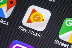 Εικονίδιο εφαρμογής μουσικής παιχνιδιού Google στο iPhone Χ της Apple κινηματογράφηση σε πρώτο πλάνο οθόνης App παιχνιδιού Google Στοκ Εικόνα
