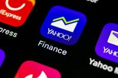 Εικονίδιο εφαρμογής χρηματοδότησης του Yahoo στο iPhone Χ της Apple κινηματογράφηση σε πρώτο πλάνο οθόνης smartphone App χρηματοδ Στοκ Φωτογραφία