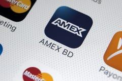 Εικονίδιο εφαρμογής Amex στο iPhone 8 της Apple κινηματογράφηση σε πρώτο πλάνο οθόνης smartphone App Amex εικονίδιο Το Amex είναι Στοκ φωτογραφία με δικαίωμα ελεύθερης χρήσης