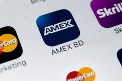 Εικονίδιο εφαρμογής Amex στο iPhone 8 της Apple κινηματογράφηση σε πρώτο πλάνο οθόνης smartphone App Amex εικονίδιο Το Amex είναι Στοκ Εικόνες