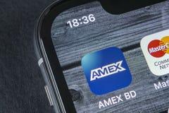 Εικονίδιο εφαρμογής Amex στο iPhone Χ της Apple κινηματογράφηση σε πρώτο πλάνο οθόνης smartphone App Amex εικονίδιο Το Amex είναι Στοκ εικόνα με δικαίωμα ελεύθερης χρήσης