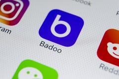 Εικονίδιο εφαρμογής Badoo στο iPhone Χ της Apple κινηματογράφηση σε πρώτο πλάνο οθόνης App Badoo εικονίδιο Το Badoo είναι ένα σε  Στοκ φωτογραφίες με δικαίωμα ελεύθερης χρήσης