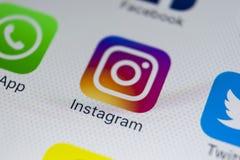 Εικονίδιο εφαρμογής Instagram στο iPhone 8 της Apple κινηματογράφηση σε πρώτο πλάνο οθόνης smartphone App Instagram εικονίδιο Το  Στοκ Εικόνα