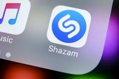 Εικονίδιο εφαρμογής Shazam στο iPhone Χ της Apple κινηματογράφηση σε πρώτο πλάνο οθόνης App Shazam εικονίδιο Το Shazam είναι δημο Στοκ εικόνες με δικαίωμα ελεύθερης χρήσης
