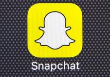Εικονίδιο εφαρμογής Snapchat στο iPhone 8 της Apple κινηματογράφηση σε πρώτο πλάνο οθόνης smartphone App Snapchat εικονίδιο Το Sn Στοκ Φωτογραφίες
