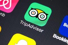 Εικονίδιο εφαρμογής Tripadvisor στο iPhone Χ της Apple κινηματογράφηση σε πρώτο πλάνο οθόνης tripadvisor εικονίδιο COM app Το Tri Στοκ φωτογραφίες με δικαίωμα ελεύθερης χρήσης