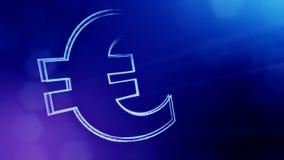 Εικονίδιο ζωτικότητας ή έμβλημα του ευρο- λογότυπου Υπόβαθρο φιαγμένο από μόρια πυράκτωσης ως vitrtual ολόγραμμα Λαμπρός τρισδιάσ διανυσματική απεικόνιση