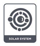 εικονίδιο ηλιακών συστημάτων στο καθιερώνον τη μόδα ύφος σχεδίου Εικονίδιο ηλιακών συστημάτων που απομονώνεται στο άσπρο υπόβαθρο απεικόνιση αποθεμάτων