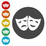 Εικονίδιο θεάτρων στον κύκλο με την ευτυχή και λυπημένη μάσκα επίσης corel σύρετε το διάνυσμα απεικόνισης διανυσματική απεικόνιση