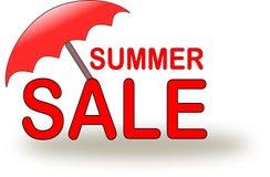 Εικονίδιο θερινής πώλησης με την κόκκινη ομπρέλα παραλιών ελεύθερη απεικόνιση δικαιώματος