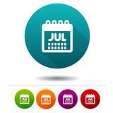 Εικονίδιο Ιουλίου μήνα Σημάδι ημερολογιακών συμβόλων Κουμπί Ιστού Στοκ Φωτογραφία