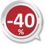 εικονίδιο Ιστού λεκτικών φυσαλίδων 40% άσπρο και κόκκινο στο μπλε υπόβαθρο Στοκ εικόνα με δικαίωμα ελεύθερης χρήσης