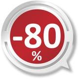 εικονίδιο Ιστού λεκτικών φυσαλίδων 80% άσπρο και κόκκινο στο μπλε υπόβαθρο Στοκ Εικόνες