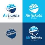 Εικονίδιο και λογότυπο αυτοκόλλητων ετικεττών αεροπορικών εισιτηρίων στοκ φωτογραφία