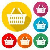 Εικονίδιο καλαθιών, εμπορικό εικονίδιο αγορών καλαθιών, εικονίδιο χρώματος με τη μακριά σκιά Στοκ φωτογραφίες με δικαίωμα ελεύθερης χρήσης