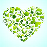 εικονίδιο καρδιών eco απεικόνιση αποθεμάτων
