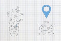 Εικονίδιο καταλόγων κάδων με το ταξίδι-σχετικό επόμενο lugga εικονιδίων που βγαίνουν Στοκ Εικόνες