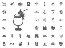 Εικονίδιο κοκτέιλ Θερινό ποτό, εικονίδιο χυμού Καλοκαιρινές διακοπές και διακινούμενα διανυσματικά εικονίδια καθορισμένες Στοκ Εικόνες