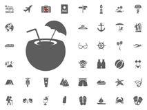 Εικονίδιο κοκτέιλ καρύδων Καλοκαιρινές διακοπές και διακινούμενα διανυσματικά εικονίδια καθορισμένες Στοκ Εικόνες