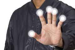 Εικονίδιο κουμπιών ώθησης από τον άνθρωπο δάχτυλων Στοκ εικόνες με δικαίωμα ελεύθερης χρήσης