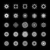 Εικονίδιο λουλουδιών και ήλιων καθορισμένο - συνδετήρας, απεικόνιση, μαύρο υπόβαθρο Στοκ Φωτογραφία