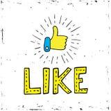 Εικονίδιο μέσων αντίχειρων επάνω κοινωνικό στο άσπρο υπόβαθρο Διάνυσμα, απεικόνιση, λέξη καλλιγραφίας όπως Στοκ Εικόνα