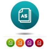 Εικονίδιο μεγέθους εγγράφου A5 Έγγραφο σημάδι συμβόλων DIN Κουμπί Ιστού διανυσματική απεικόνιση